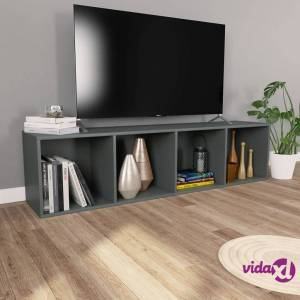 "vidaXL Book Cabinet/TV Cabinet Gray 14.2""x11.8""x56.3"" Chipboard  - Grey"