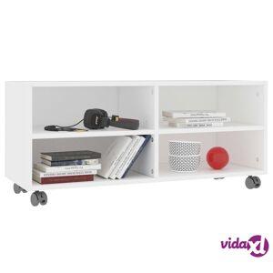 "vidaXL TV Cabinet with Castors White 35.4""x13.8""x13.8"" Chipboard  - White"