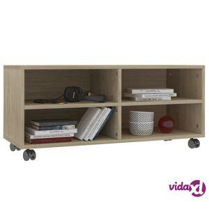 "vidaXL TV Cabinet with Castors Sonoma Oak 35.4""x13.8""x13.8"" Chipboard  - Brown"