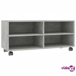 "vidaXL TV Cabinet with Castors Concrete Gray 35.4""x13.8""x13.8"" Chipboard  - Grey"