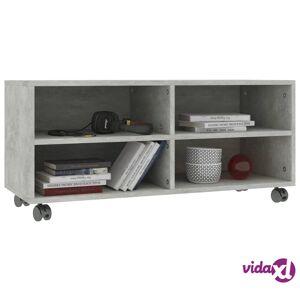 "vidaXL TV Cabinet with Castors Concrete Gray 35.4""x13.8""x13.8"" Chipboard  - Grey"