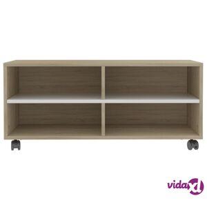 "vidaXL TV Cabinet with Castors White and Sonoma Oak 35.4""x13.8""x13.8"" Chipboard  - Beige"