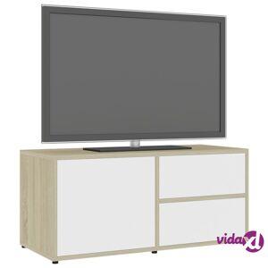 "vidaXL TV Cabinet White and Sonoma Oak 31.5""x13.4""x14.1"" Chipboard  - Beige"