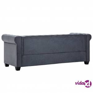 vidaXL 3-Seater Chesterfield Sofa Artificial Suede Leather Gray  - Grey