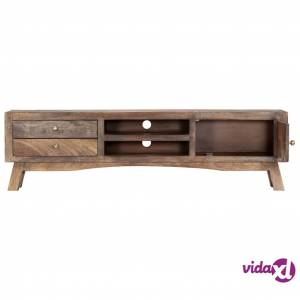 "vidaXL TV Cabinet 55.1""x11.8""x15.7"" Solid Mango Wood  - Grey"