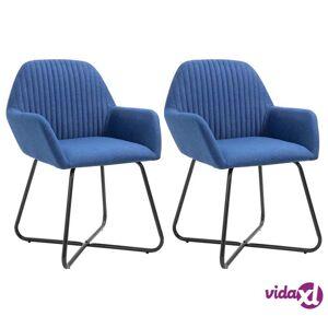 vidaXL Dining Chairs 2 pcs Blue Fabric  - Blue
