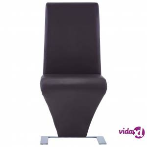vidaXL Dining Chairs with Zigzag Shape 4 pcs Brown Faux Leather  - Brown