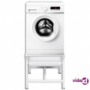 vidaXL Washing Machine Pedestal with Pull-Out Shelf White  - White