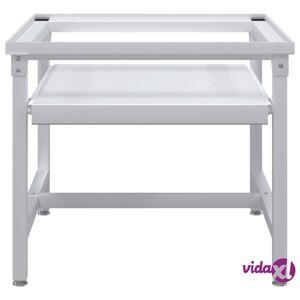 vidaXL Washing Machine Pedestal with Pull-Out Shelf White  - White