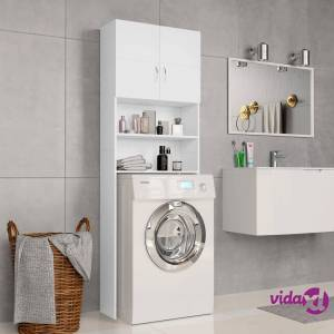 "vidaXL Washing Machine Cabinet White 25.2""x10""x74.8"" Chipboard  - White"