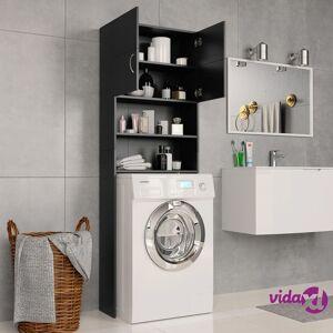 "vidaXL Washing Machine Cabinet Black 25.2""x10""x74.8"" Chipboard  - Black"