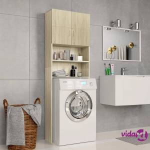 "vidaXL Washing Machine Cabinet Sonoma Oak 25.2""x10""x74.8"" Chipboard  - Brown"