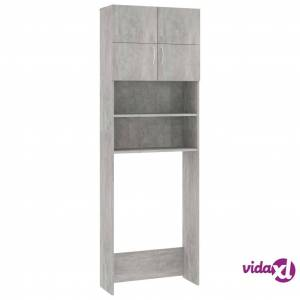"vidaXL Washing Machine Cabinet Concrete Gray 25.2""x10""x74.8"" Chipboard  - Grey"