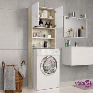 "vidaXL Washing Machine Cabinet White and Sonoma Oak 25.2""x10""x74.8""  - Beige"