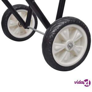 vidaXL Metal Foldable Saddle Rack with Wheels  - Black