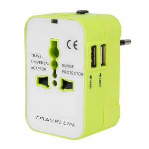 Travelon Worldwide Adapter with Dual USB Charger, Green