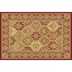 Rugs America New Vision Panel Framed Floral Rug, Red, 4X5 Ft