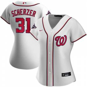 Nike Women's Nike Max Scherzer White Washington Nationals 2019 World Series Champions Home Replica Player Jersey, Size: XL