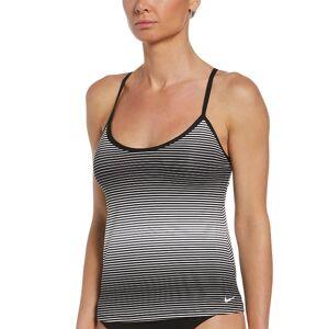Nike Women's Nike Textured Stripe Racerback Tankini Top, Size: XXL, Black