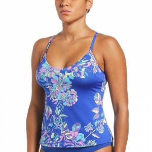 Nike Women's Nike Floral Racerback Tankini Top, Size: XXL, Blue