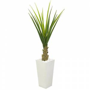 nearly natural 5 Ft. Agave Artificial Plant in White Planter, Green