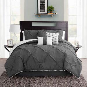 Unbranded Pom-Pom Comforter Set, Grey, Twin