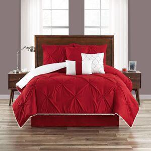 Unbranded Pom-Pom Comforter Set, Red, Twin