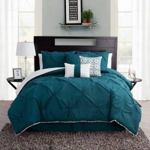 Unbranded Pom-Pom Comforter Set, Green, Queen