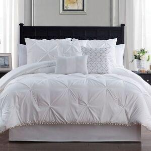 Unbranded Pom-Pom Comforter Set, White, Full