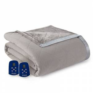 Micro Flannel Ultra Velvet Heated Blanket, Med Grey, Queen