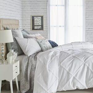 Peri Chenille Lattice Duvet Cover Set, White, KING SHAM