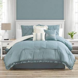 Unbranded Ruffled Kiss-Pleat 7-Piece Comforter Set, Multicolor, Cal King