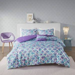 Zone Mi Zone Phoebe Metallic Printed Reversible Comforter Set, Turquoise/Blue, Twin