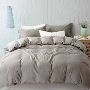 Unbranded Linen-Cotton Blend Duvet Cover Set, Grey, Queen