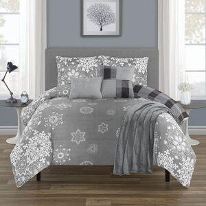 Unbranded Snowflakes Comforter Set, Grey, King