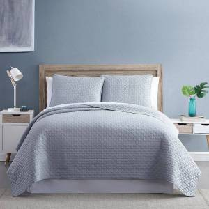 Unbranded Diamond Link 3-Piece Enzyme Washed Quilt Set, Grey, Full/Queen