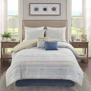 Madison Park Margo Comforter Set with Coordinating Pillows, Blue, King