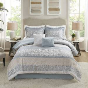 Madison Park Raylee Comforter Set with Coordinating Pillows, Blue, Queen