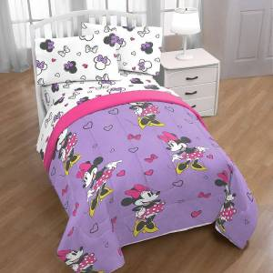 Disney s Minnie Mouse Purple Love Bedding Set, Multicolor, Full