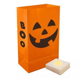 LumaBase Indoor / Outdoor Jack-O'-Lantern Halloween Luminaria Bag & LED Light 12-piece Set, Orange, LUMINARY