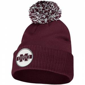 Men's adidas Maroon Mississippi State Bulldogs Sideline Coaches Cuffed Knit Hat with Pom, Red