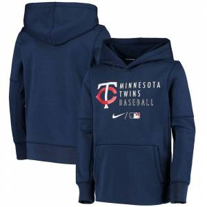 Nike Youth Nike Navy Minnesota Twins Authentic Collection Performance Pullover Hoodie, Boy's, Size: YTH Large, Blue
