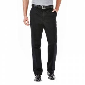 Men's Haggar Work to Weekend Classic-Fit Flat-Front No-Iron Expandable Waist Pants, Size: 44X29, Black
