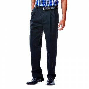 Men's Haggar Work to Weekend Classic-Fit Pleated Expandable Waist Pants, Size: 42X29, Black