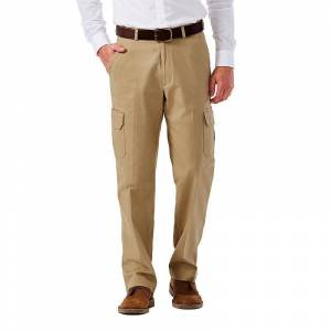 Men's Haggar Flat-Front Stretch Comfort Cargo Expandable Waist Pants, Size: 42X30, Beige