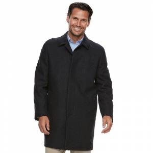 Ike Behar Men's Ike Behar Classic-Fit Wool-Blend Top Coat, Size: 38 Short, Dark Grey
