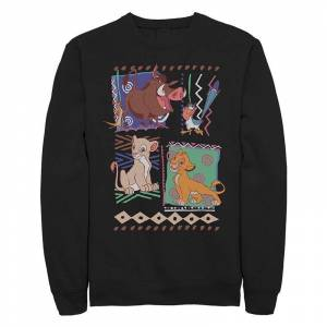Licensed Character Juniors Disney The Lion King Retro Group Shot Patterns Crew Fleece, Girl's, Size: Small, Black