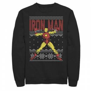 Men's Marvel Iron Man Ugly Christmas Sweater Fleece, Size: Medium, Black