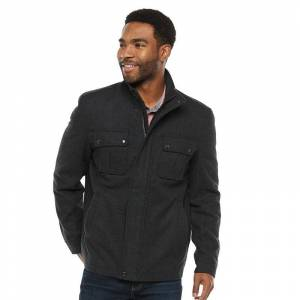 Men's Vintage Leather Wool-Blend Stand-Collar Jacket, Size: Large, Black