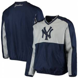 Men's G-III Sports by Carl Banks Navy/Gray New York Yankees High Heat V-Neck Pullover Jacket, Size: 6XL, Blue